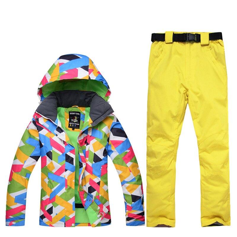 все цены на -30 new ski suit suit female windproof waterproof 10000 winter high quality colorful ski jacket + ski pants warm and wearable