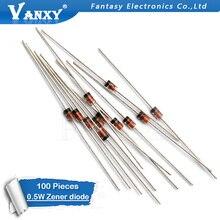 100 шт. 0,5 Вт зенеровский Диод 500 МВт DO-35 1/2 Вт BZX55C 11 в 12 В 13 в 15 в 16 в 18 в 20 в 22 в 24 в 27 в 30 в 33 в е-байка 36В 39V 43V 47V