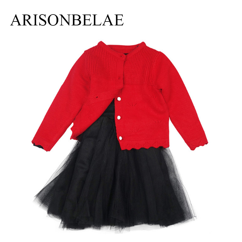 ARISONBELAE New Year Girls Dress Cardigan With Long Sleeve Chiffon Pompom  Dresses Princess Knitted Sweater Children Clothes t100 children sweater winter wool girl child cartoon thick knitted girls cardigan warm sweater long sleeve toddler cardigan
