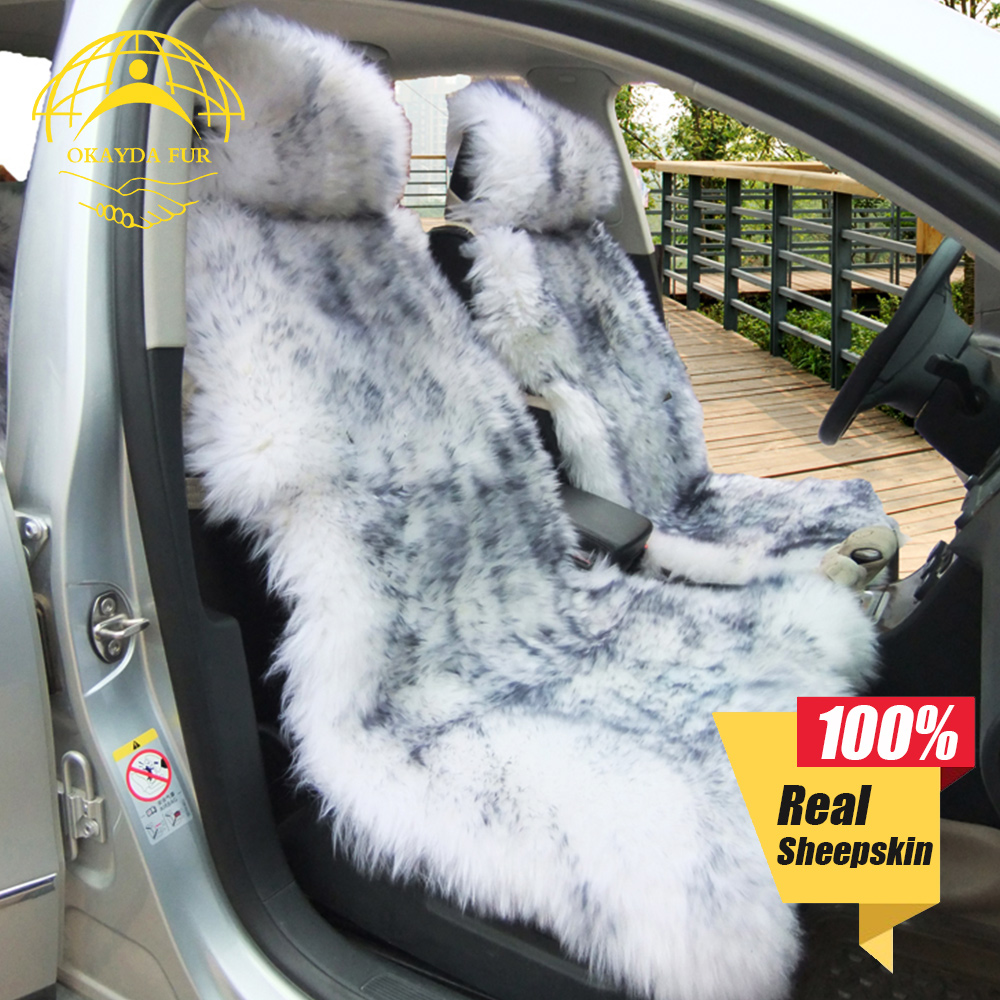 Australia sheepskin car seat cover 1 piece plush fur car interior accessories cushion styling universal warm car seat cover kkysyelva universal leather car seat cover set for toyota skoda auto driver seat cushion interior accessories