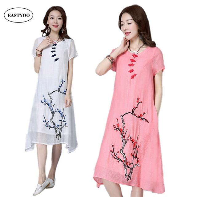 White Linen Dress Women Summer 2017 Long Maxi Dresses Plus Size