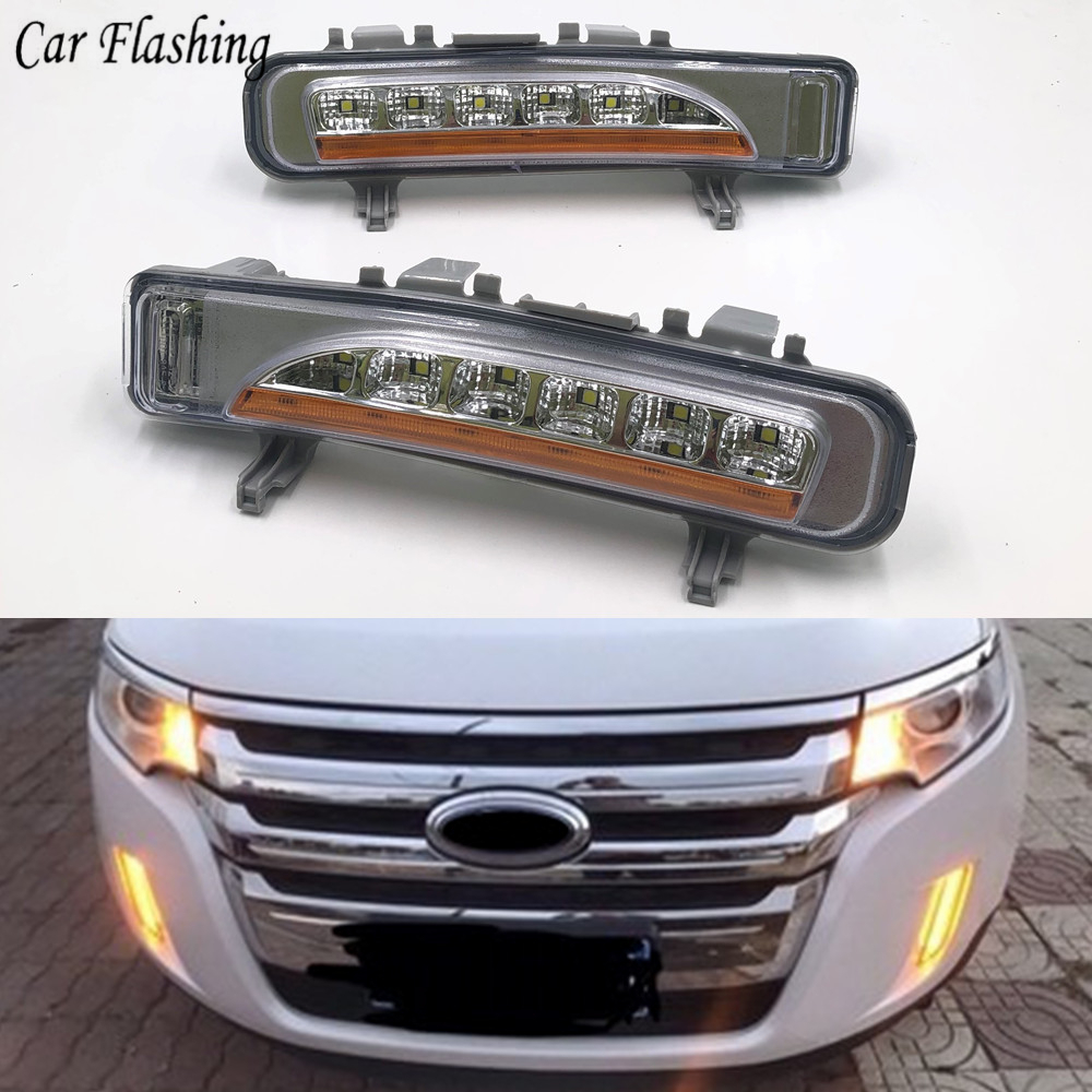 Car Flashing 1 Pair For Ford Edge 2009 2010 2011 2012 2013 2014 Daylight Car LED