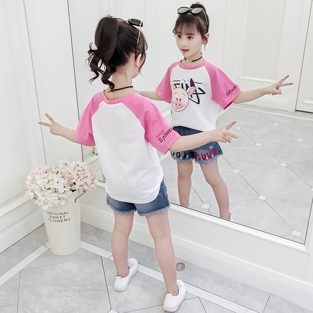 2019 Summer Kids Clothing Baby Girl Sports T-Shirt +Shorts 2 Pieces Set Casual Cotton Outfits Clothes Denim Shorts 4-15Y