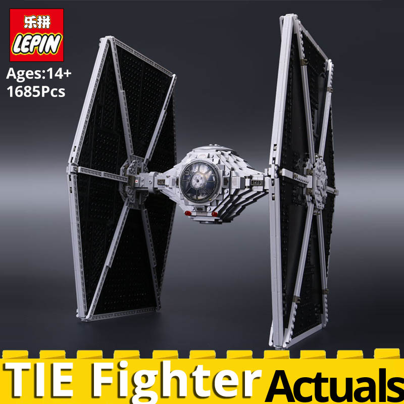 LEPIN Star Wars 05036 TIE Fighter Stacking Building Blocks Bricks Set Assembled Toys for Children legoing 75095 Model Gift DHL new 1685pcs lepin 05036 1685pcs star series tie building fighter educational blocks bricks toys compatible with 75095 wars