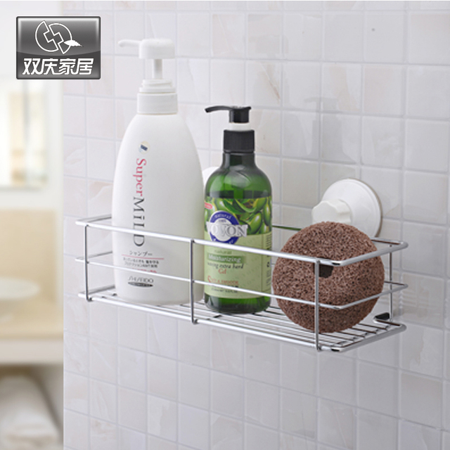 Vacuum Sucker Bathroom Kitchen Wall Mounted Multifunctional Storage Rack  Chrome Bathroom Accessories Basket Holder SQ