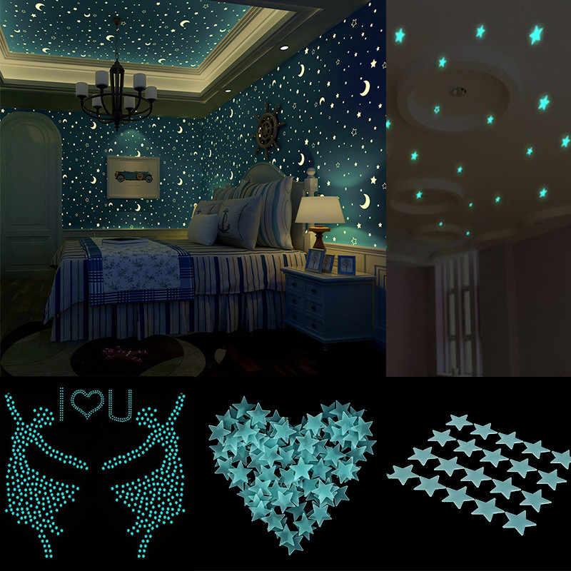 80 шт. 3D звезды светится в темноте светящиеся настенные наклейки флуоресцентные настенные наклейки для детей Детская комната Спальня Декор для потолка
