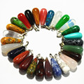 wholesale 2016 new hot sale  fashion mix color natural stone pendants water drop teardrop Charms for Necklaces making 50pcs/lot