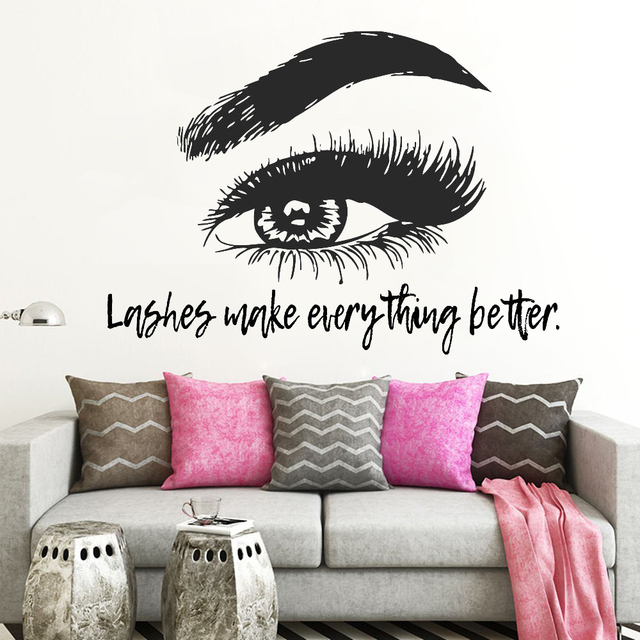 c62ee3bede0 New Design Eye Eyelashes Lashes Extensions Wall Decal Eyebrows Brows Beauty  Salon Quote Make Up Wall Sticker Vinyl Art D339