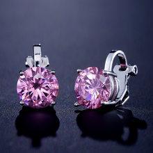 Neue Trendy 7mm Zirkonia Clip Ohrringe Top Qualität CZ Kristall Ohrringe Für Frauen Luxus Schmuck bloucle d'oreille clips