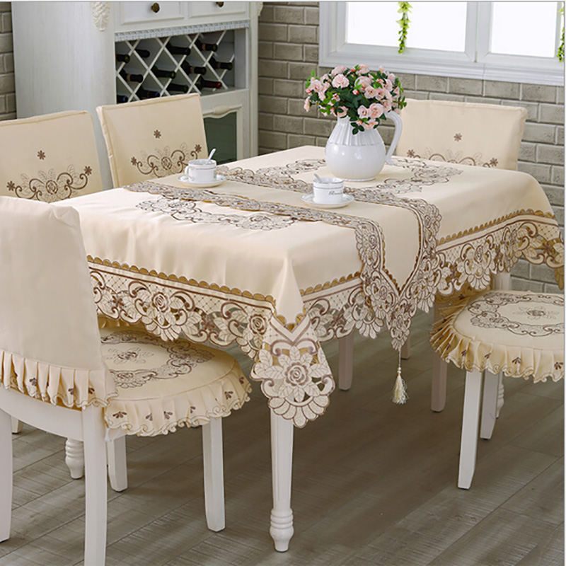 Satin Fabric Tablecloth Rectangle Elegant Hollow Embroidered Floral Thick Table cloth  Wedding Party Decor Table Covers