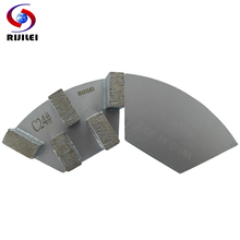 RIJILEI 24*8mm*5T Sector Metal Bond Abrasive Tools Diamond Grinding Plate for Marble Slabs and Concrete Floor grinding disc  A50
