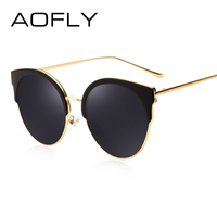 AOFLY Hot Fashion Sunglasses Women Brand Designer Vintage Retro Cat Eye Sunglasses Female Half Frame Coating