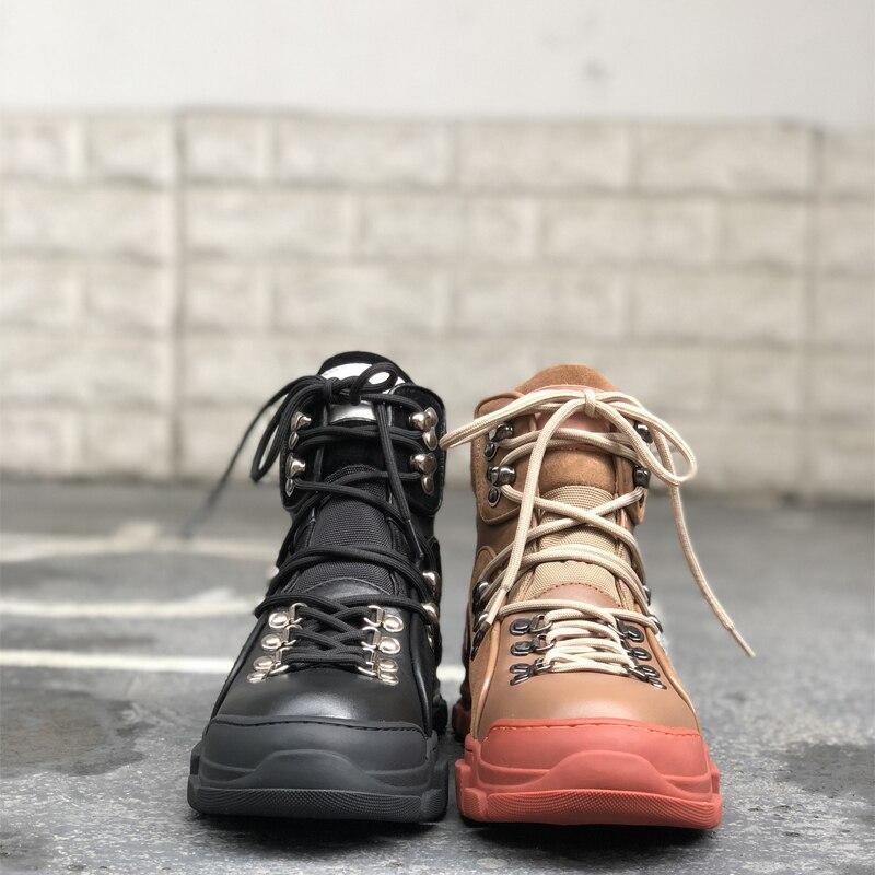 Cuero Diseño S Runway 2018 Nueva Pic Pic Invierno Otoño Plataforma As Lace Botines Zapatos as Casuales Mujer Up Acogedor Botas xZXqPBn