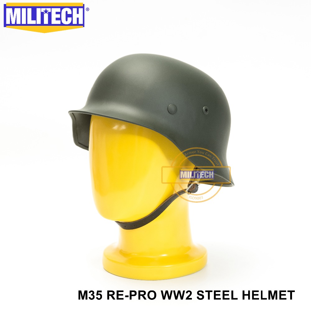 MILITECH Green WW2 German M35 Steel Helmet WW II M35 Repro German Helmet Motorcycle Safety Helmet World War 2 Collection Helmet-in Safety Helmet from Security & Protection    1