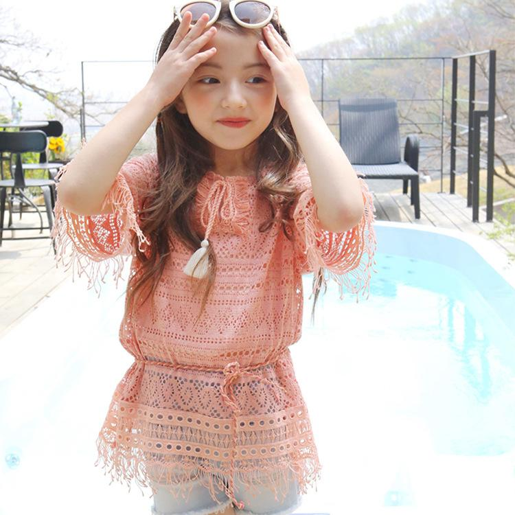 New Arrival Sweet Kids Girls Lace Tassels Tees Hollow Out Design Pink and White Beach Top