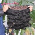 De calidad superior 8A Malasio de la virgen del pelo Clip en extensiones de cabello Un pieza 5 Clips 100g onda del cuerpo extensiones de cabello para las mujeres negras