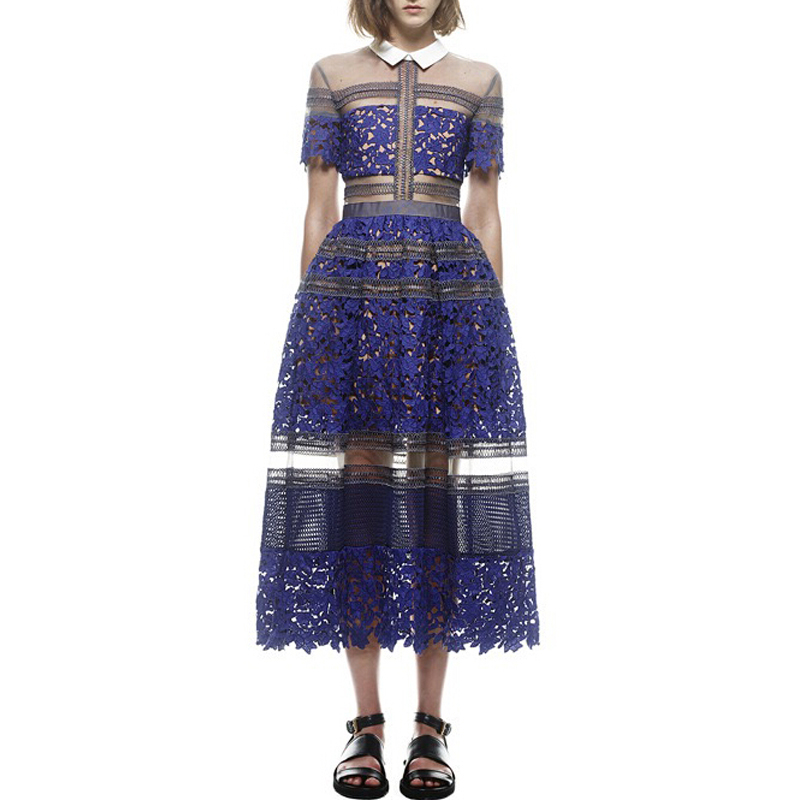 2018 New Arrival Brand New Self Portrait Style Lace Crochet Dress Women Long Maxi Mid-calf Dress Fashion Runway Blue Dress