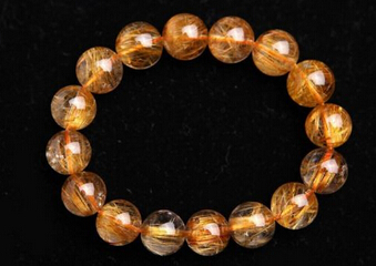 001062 13 mm cuivre naturel Quartz rutile perles puissant Bracelet AAAA