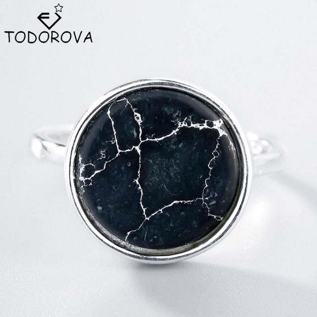Todorova Black Natural Stone Rings 925 Silver New Fashion Round 100% S925 Solid
