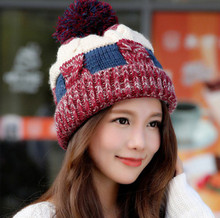 free shipping 2017 Winter ladies hat fashion wool hat with velvet knitted hat