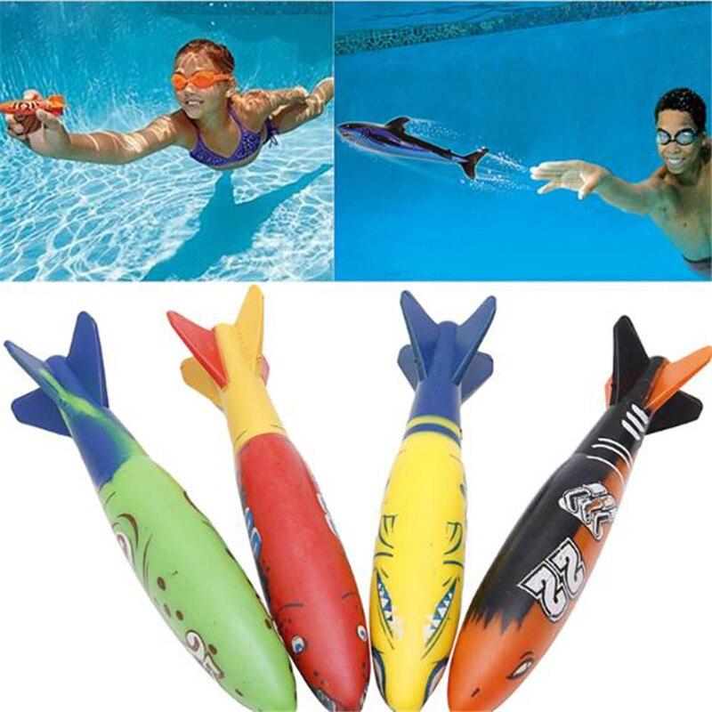 4 Pcs Torpedo Rocket Throwing Toy Swimming Pool Diving Game Summer Torpedoes Bandits Children Underwater Dive Toy 4pcs underwater diving torpedo toys set for kids