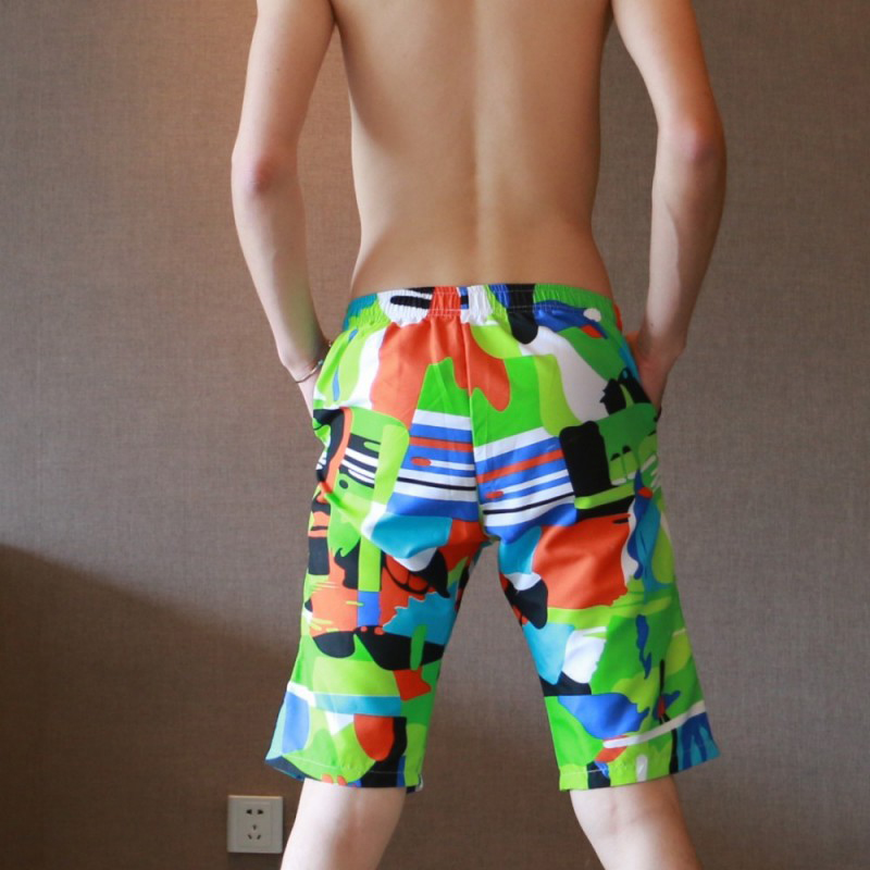 Multi Styles Men Summer New Polyester Shorts Casual Loose Shorts 2018 Beachwear Knee-Length Breathable Drawstring Board Shorts
