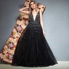 Tanpell v neck evening dress black beading sleeveless floor length a line gown women party formal customed long dresses