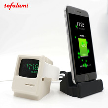 Фотография 2in1 Cell Phone Charger Holder Desktop Charging Stand Retro Macintosh model Bracket For Apple Watch 38 42 mm iPhone 5 6 7 8 plus