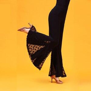 Image 5 - Nero Garza Moderne di formazione di danza Latino abbigliamento svasato pantaloni per donna/donne/signora, vogue costume prestazioni indossa KR0316