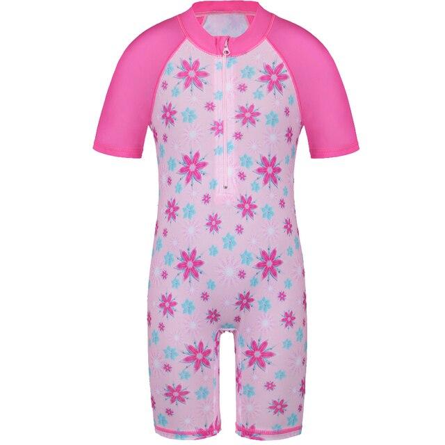 d0f007abf94485 2018 Baby Girls Rash Guards Surf Swimwear with Zipper UV 50+ Sun Beachwear  Short Sleeve One-Piece Set for 3-8Y