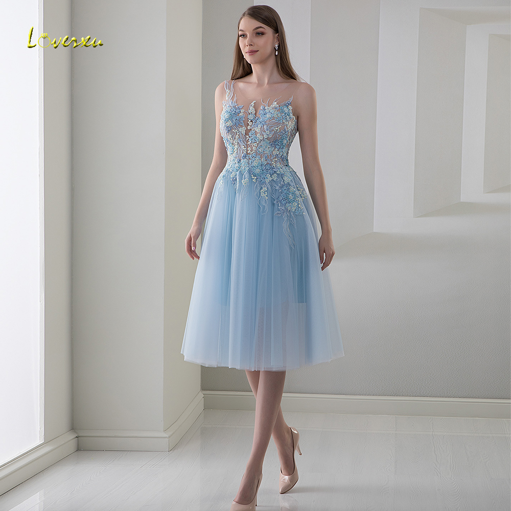 Loverxu Scoop A Line   Cocktail     Dress   Applique Beading Flower Tank Sleeve Backless Knee-Length Party   Dresses   Ever Pretty Plus Size
