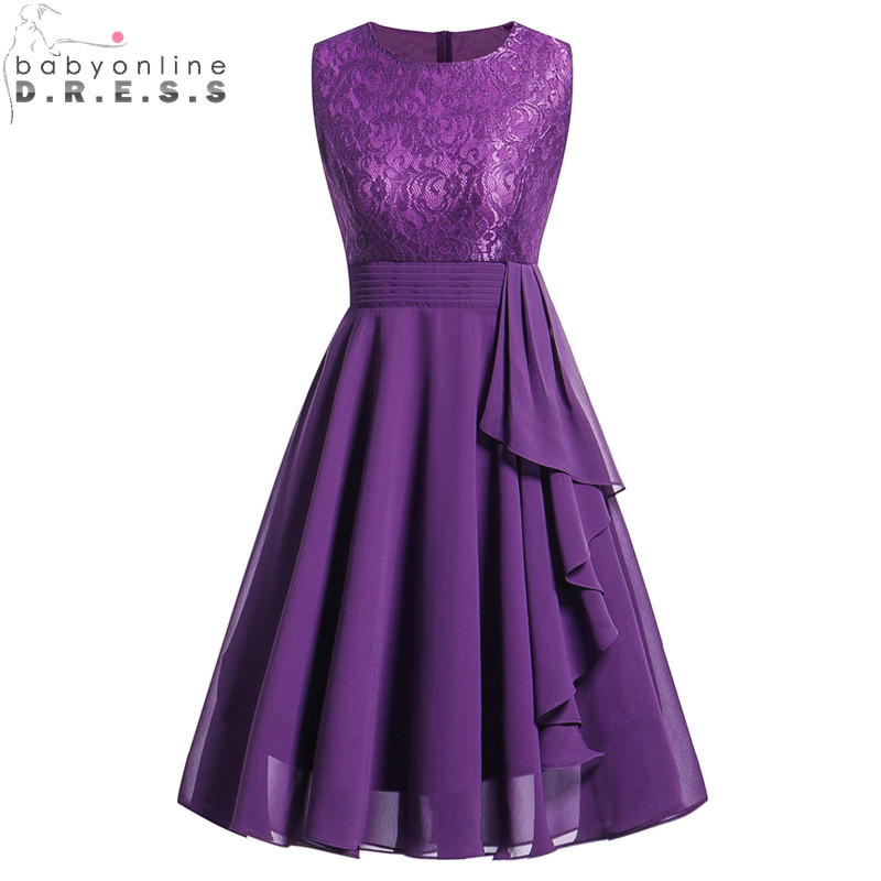 Vintage Purple Short Lace   Evening     Dress   Chiffon   Evening   Party   Dresses   with Sashes Robe de Soiree Courte