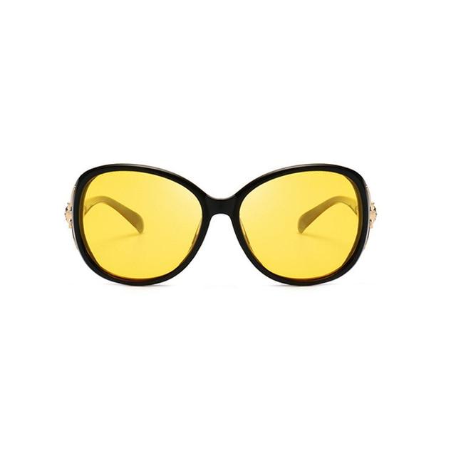 Women HD Polarized Night Vision Driving Glasses Black Oval Oversize Driving Glasses 2