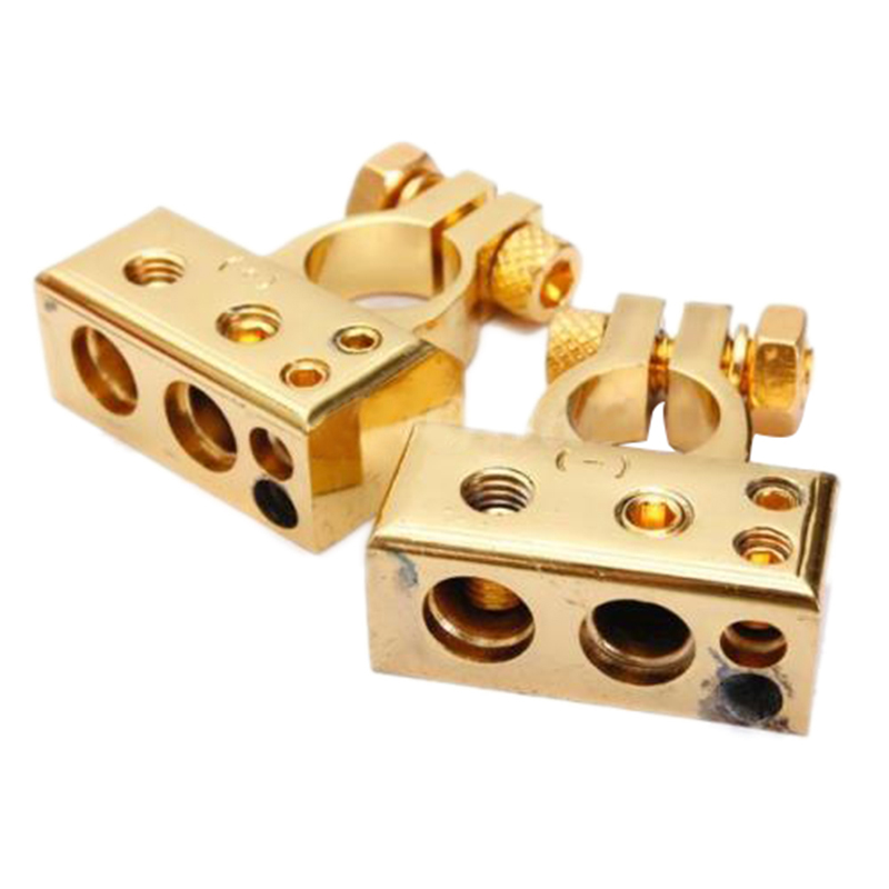 2 x HEAVY DUTY Golden Plated Car Battery Terminals (Positive/Nagative) 4,8 AWG 1 pair practical silver car battery terminal set 2 4 8 gauge awg positive