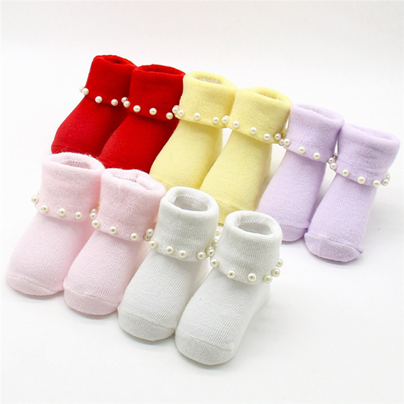 5 Color Baby Girl Socks Newborn Toddler Infant Baby Girls Anti-slip Princess Solid Socks Suit For 0-1T Baby NDA84L24 ...