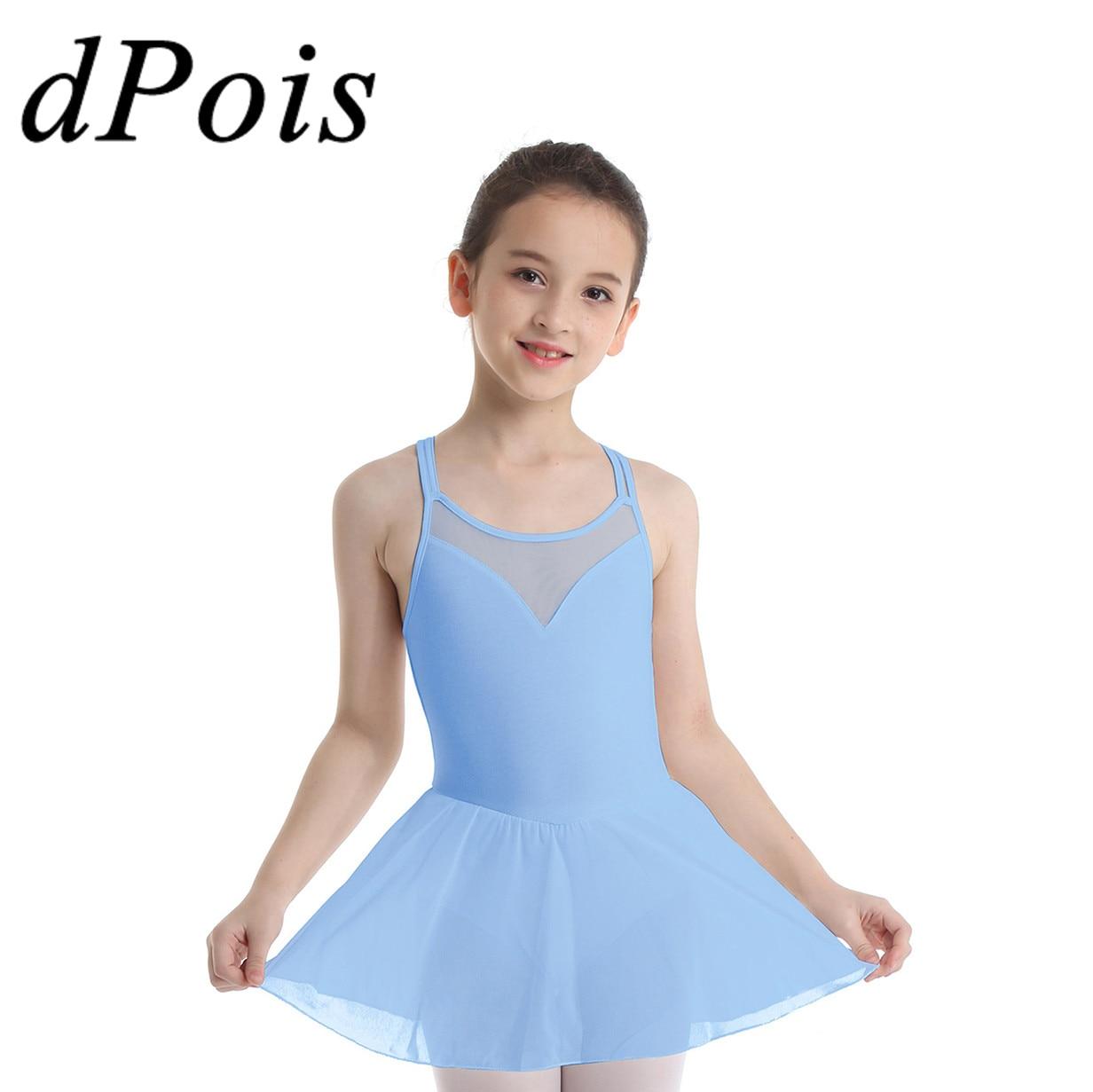 dPois Girls Long Sleeve Figure Ice Roller Skating Dress Outdoor Sport Tutu High Neck Ballet Dance Gymnastics Leotard Skirt