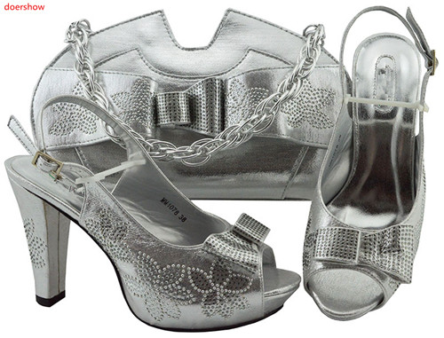 doershow new Fashion Rhinestone silver Shoes And Bag Set Newest African Women High Heels Pumps Matching Purse For party!HLN1-12doershow new Fashion Rhinestone silver Shoes And Bag Set Newest African Women High Heels Pumps Matching Purse For party!HLN1-12