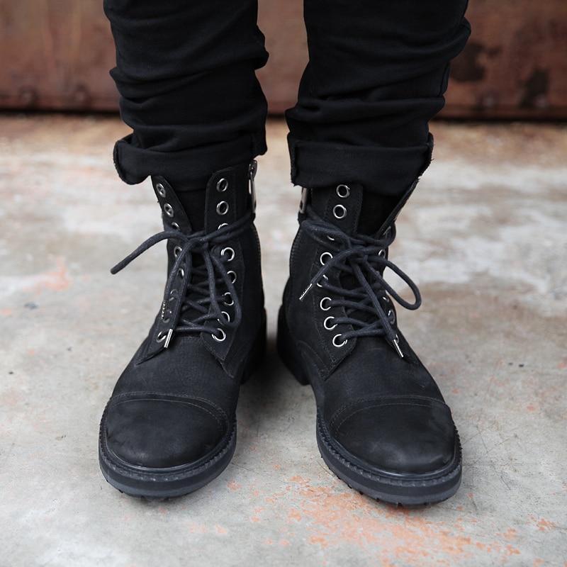 Fosco Dos Botas Do Alto Masculinos Black Escuro Superior Homens Velho Grosso Outono Rugas Vintage Sapatos parte Metal Retro Duplo Couro Zíper 8qq5SwOxX