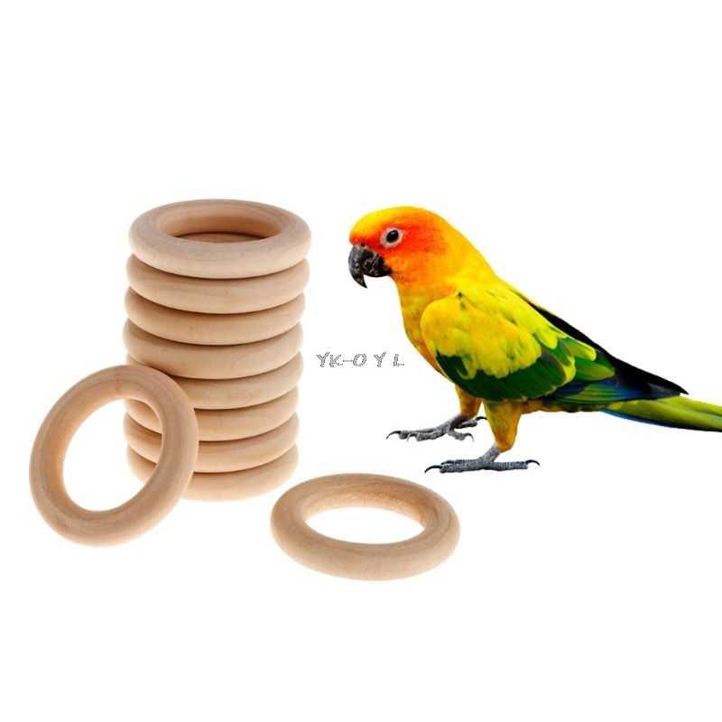 10 ชิ้น/เซ็ตธรรมชาติแหวนไม้ตกแต่งบ้าน Parrot นกแก้วนกแก้วของเล่นกัด Chew Molar ฟันฟันบดของเล่น DIY อุปกรณ์เสริม