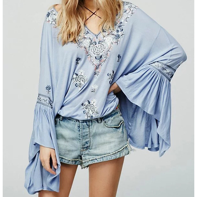 European Floral Embroidery Long Sleeve Bohemian Blouse Tops V Neck Long Flare SleeveDraw String Cotton Loose Pullover Shirt