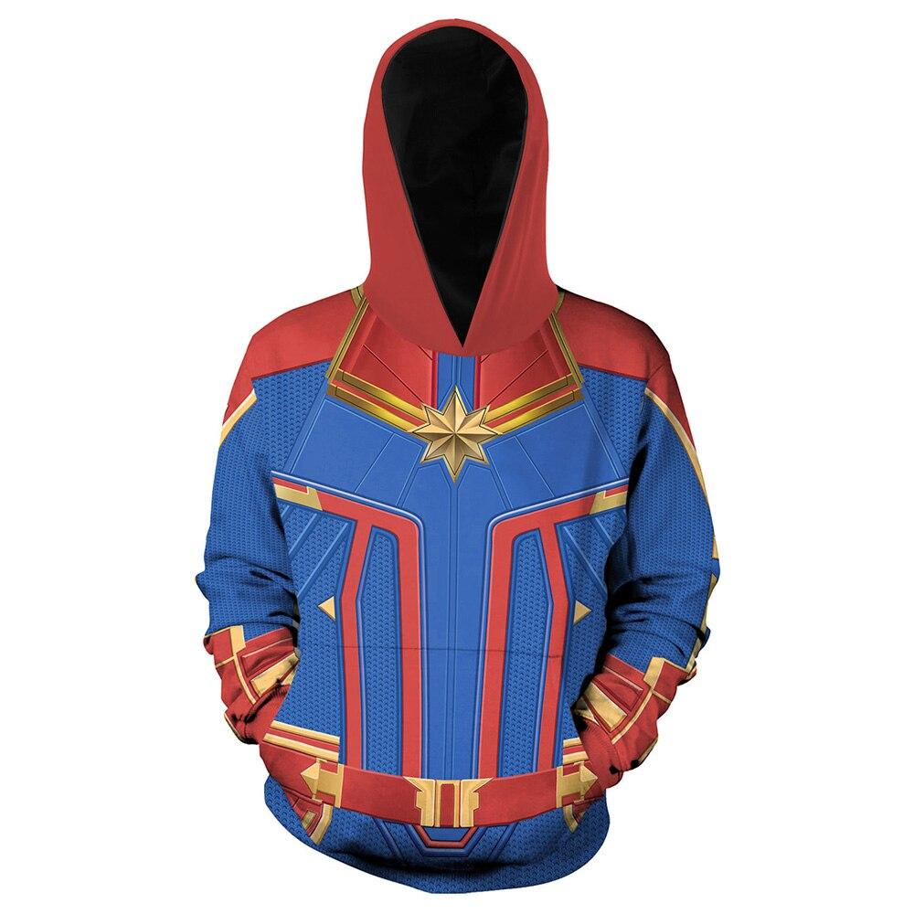 Ms Marvel Cosplay Costume Captain Carol Danvers Unisex Adults 3D Print Hoodies Long Sleeve Hooded Sweatshirts Jacket Pollovers