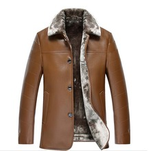 2016 New Winter Fur Collar Men Genuine leather-based jacket Long Middle-aged Men's Leather Jacket Fleece Thick Coat Free Shipping