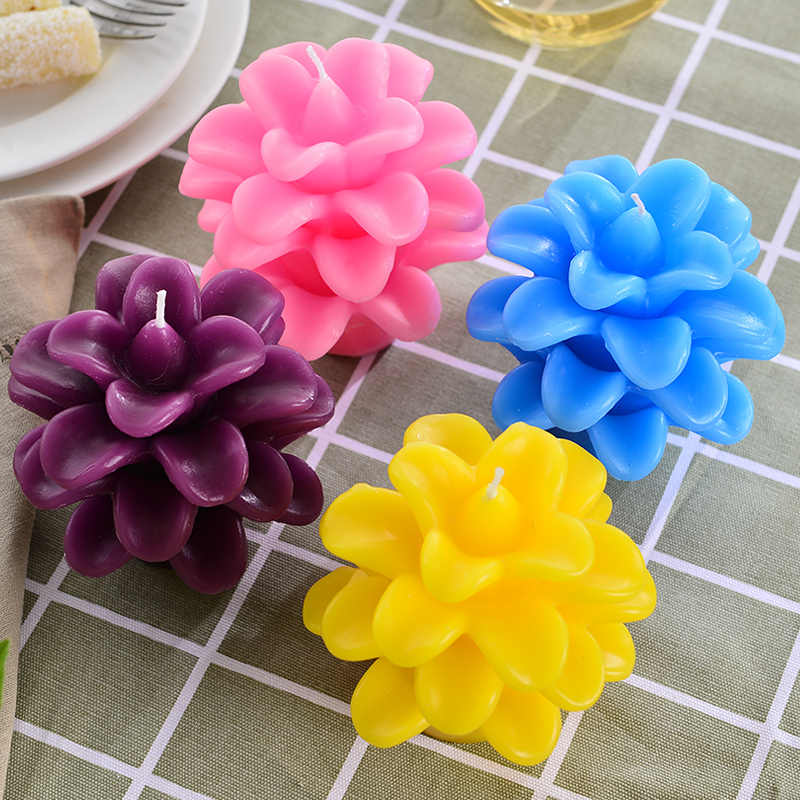 New Creative Scented Birthday Weddings Candles Colorful Flower Flameless Candles Cake For Children Gifts Birthday Decoration