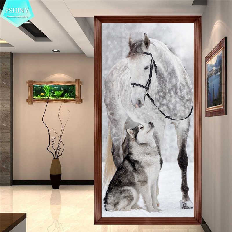 PSHINY 5D DIY יהלומי רקמת מכירה כלבים סוס בעלי החיים מלא תרגיל כיכר rhinestones תמונות יהלומי ציור חדש כניסות