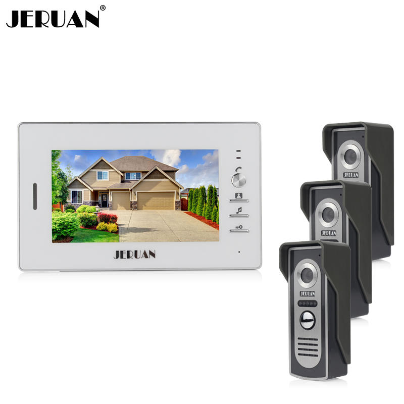 JERUAN Home 7`` TFT color video door phone intercom system 1 white monitor + 700TVL Cameras open the door In Stock FREE SHIPPING