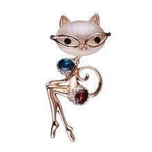 Сексуальная брошь в виде кошки, ювелирные изделия в виде животных, голубой кристалл, фиолетовые стразы, опал, булавки и броши для женщин, котенок, нагрудник, свадебные булавки брошки