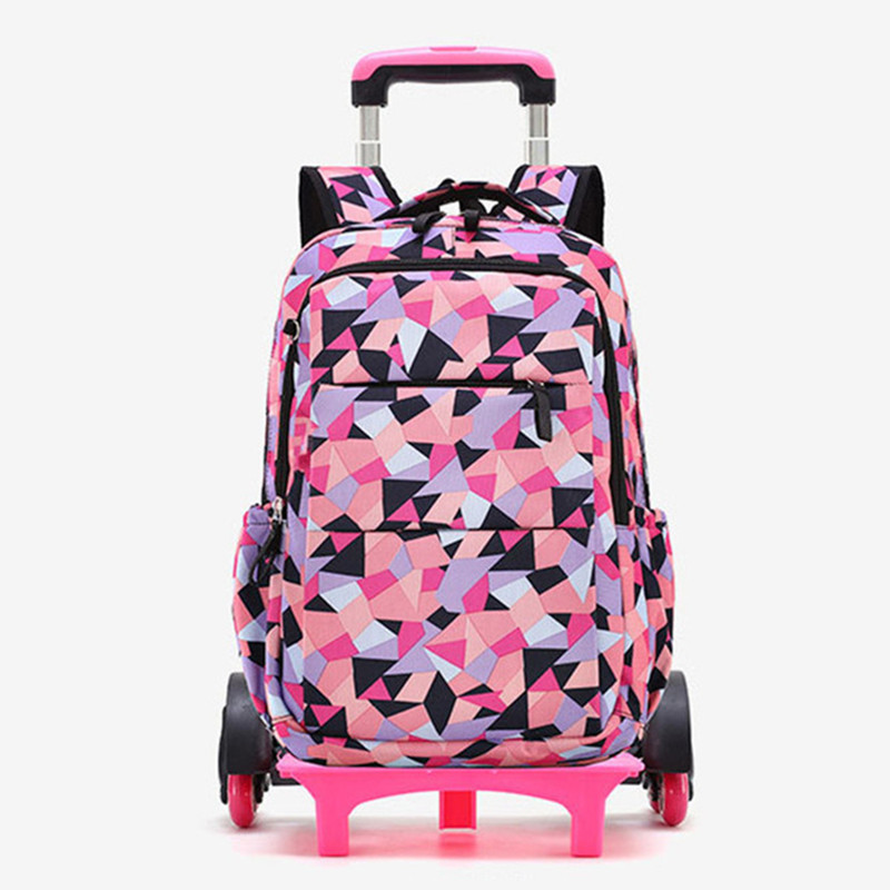 Hot Sales Removable Children School Bags with 2 6 Wheels for Girls Trolley Backpack Kids Wheeled
