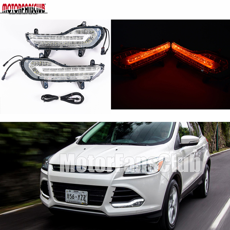 30-LED DRL Lights LED Daytime Running Light Fog Lamp Assembly Turn Signal For Ford Kuga Escape 2013-2015