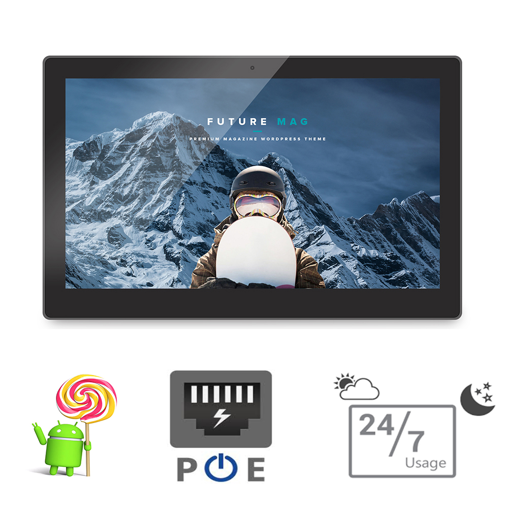 15.6 pouce Android POE tablet pc-tout en un pc-montage mural smart TV (Quad core, A9, 1.5 GHz, 1 GB DDR3, 8 GB flash, bluetooth, VESA)