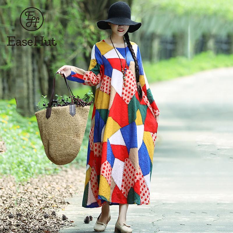2019 Neuer Stil Easehut Frauen Retro Ethnische Kleid Gedruckt Langarm Maxi Kleid 2019 Neue Herbst Vintage Lose Beiläufige Oversize Robe Vestido Mujer